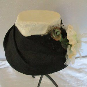 Black and cream vintage hat